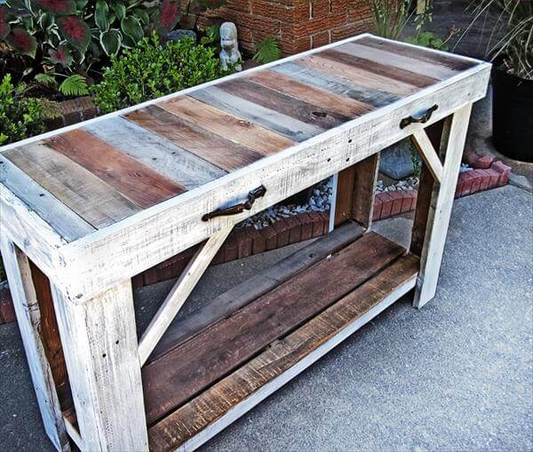 Foyer Table Made From Pallets : Pallet sofa side table entryway pallets