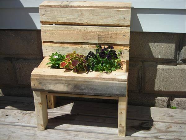 recycled pallet garden bench planter