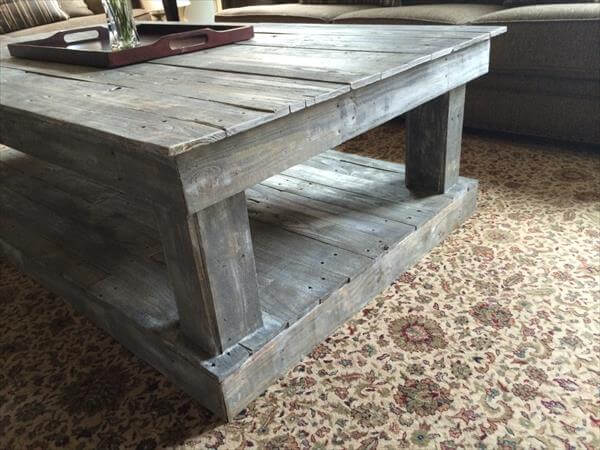 diy pallet teal blue distressed coffee table pallets wood coffee table ...