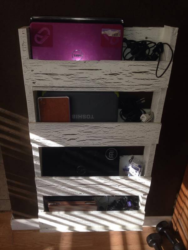 repurposed pallet laptop wall organizer