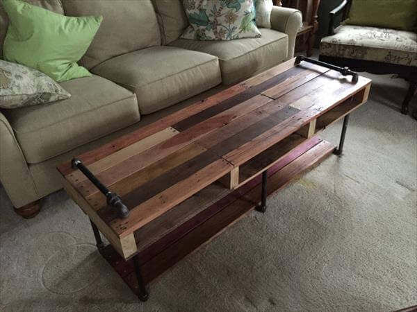 DIY Industrial Pipe and Pallet Coffee Table 101 Pallets