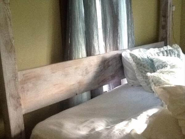 DIY Pallet Distressed Canopy Bed | 101 Pallets