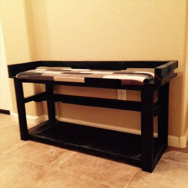 DIY Pallet Entry Bench Shoe Rack