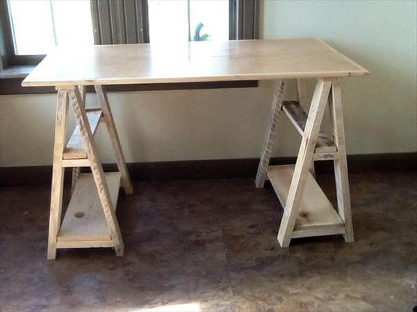Charming Resurrected Pallet Sawhorse Study Desk Part 16