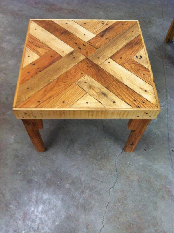 recycled pallet coffee table with triangle tessellation