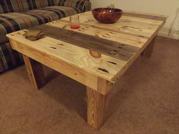 Legs Diy Pallet Square Top Coffee Table Diy Pallet Coffee Table With