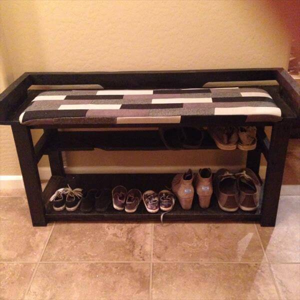 Diy Pallet Entry Bench Shoe Rack 101 Pallets