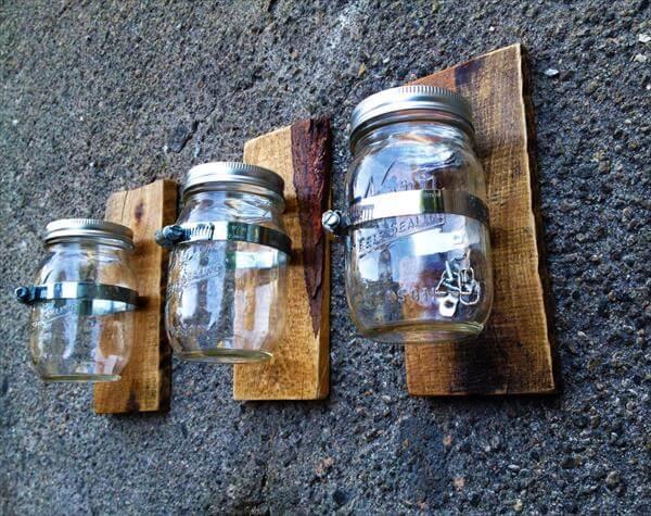 Pallet And Mason Jars Wall Vases 101 Pallets