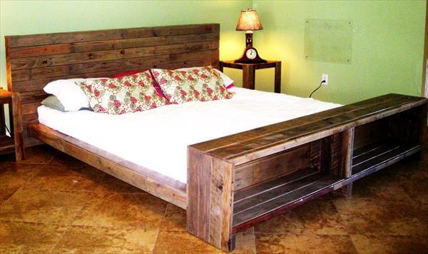 Whole EURO Pallet Bed with Storage Drawers DIY Platform Pallet Bed ...