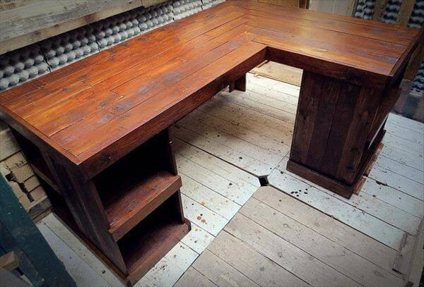 recycled pallet sectional desk