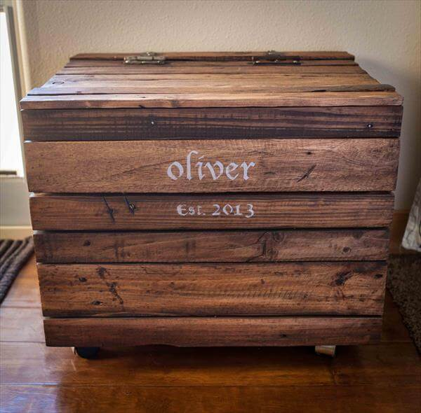 DIY Pallet Wood Toy Box with Casters | 101 Pallets