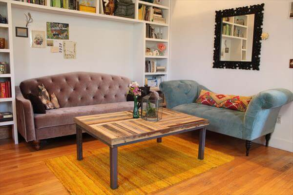 handmade pallet metal coffee table