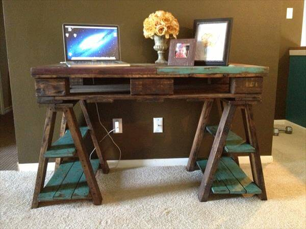 DIY Pallet Wood Distressed Table / Computer Desk | 101 Pallets