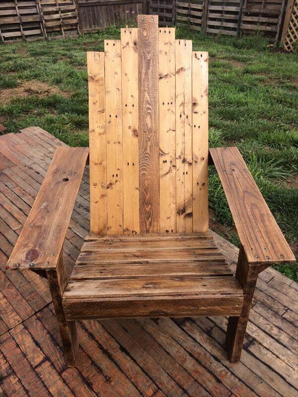rustic pallet adirondack chair · reclaimed pallet wood adirondack chair - Reclaimed Pallet Adirondack Chair 101 Pallets