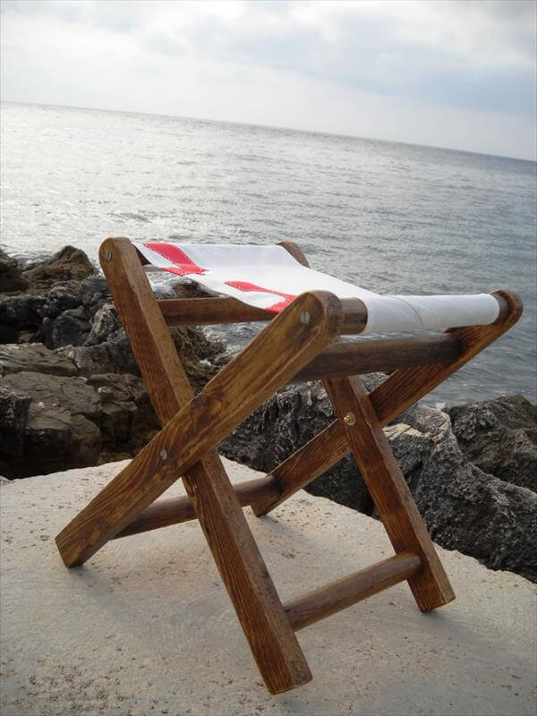 upcycled pallet wood sail stool
