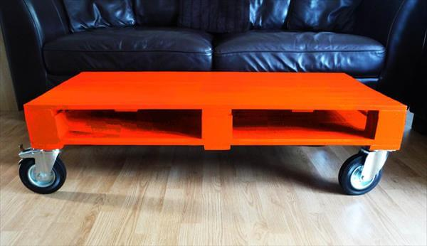 DIY Colorful Pallet Coffee Tables with Wheels 101 Pallets