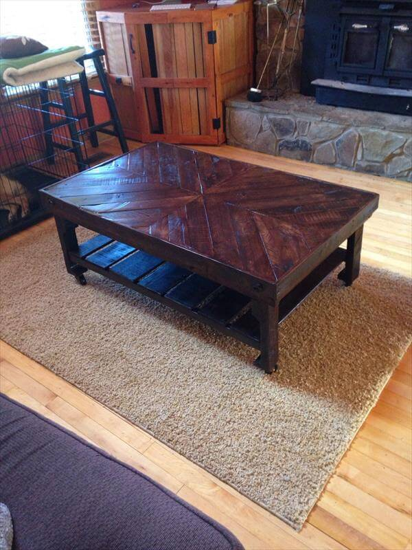upcycled pallet rustic chevron coffee table