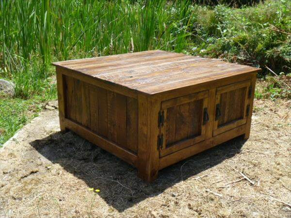 Diy pallet squared coffee table with storage 101 pallets for Diy coffee table with storage