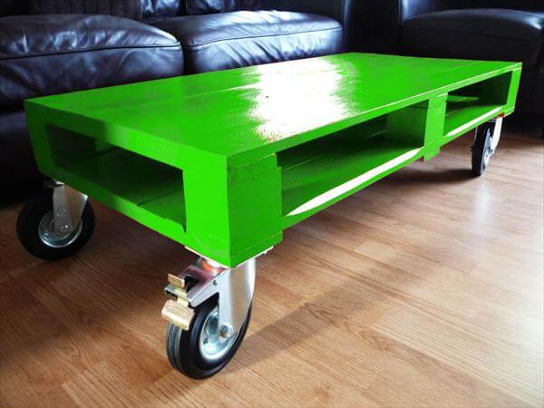 diy colorful pallet coffee tables with wheels | 101 pallets