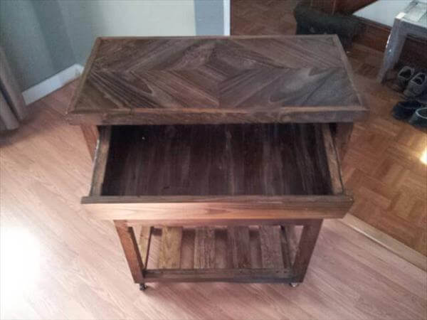 reused pallet kitchen cart with storage