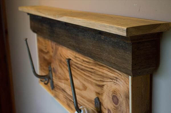 recycled pallet shelf and coat rack