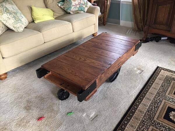 recycled pallet cart ad coffee table