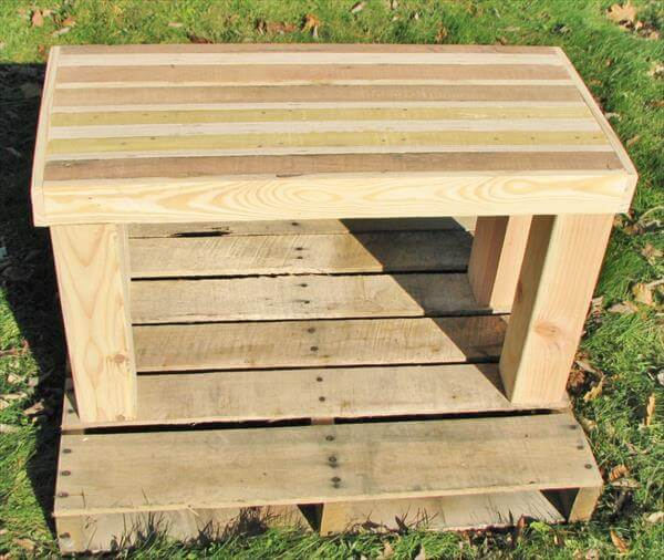 recycled pallet wood bench and side table