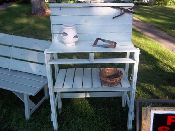 shabby chic pallet potting bench