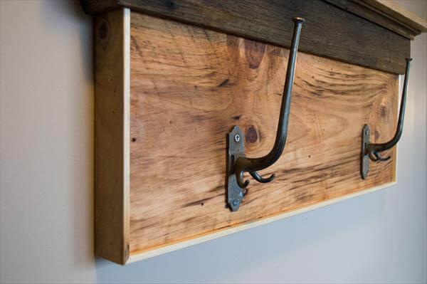 handcrafted pallet shelf and coat rack