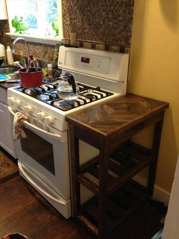 diy pallet kitchen cart on wheels | 101 pallets