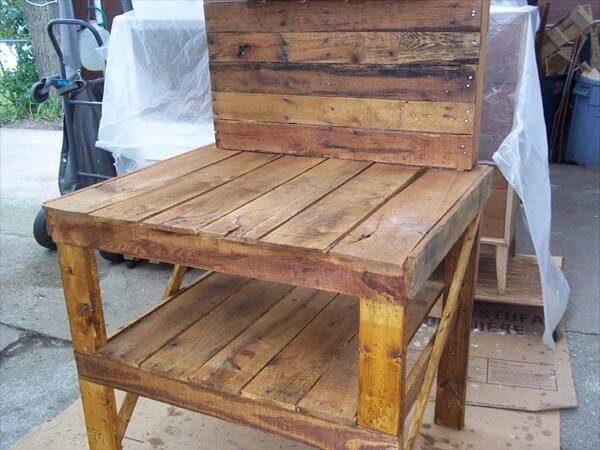 ... Bench with Hooks Pallet Garden Potting Bench – Work Bench DIY Pallet