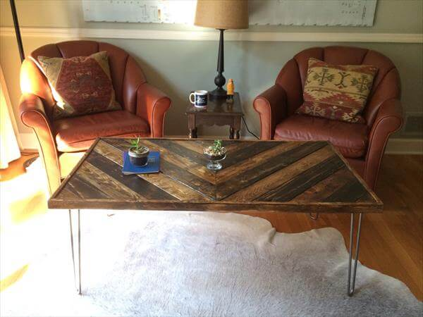 Chevron Pallet Coffee Table With Hairpin Legs Pallets