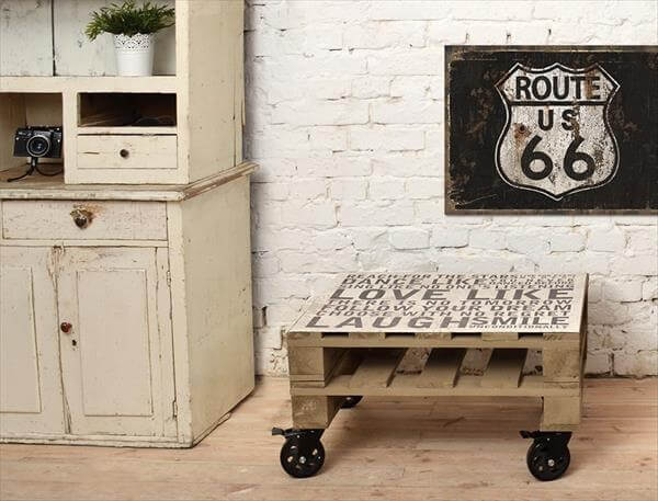 upcycled pallet wooden coffee table
