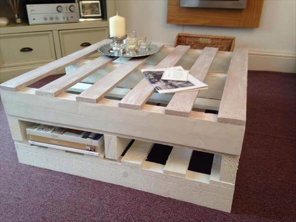 White Pallet Coffee Table shabby chic pallet coffee table with storage | 101 pallets