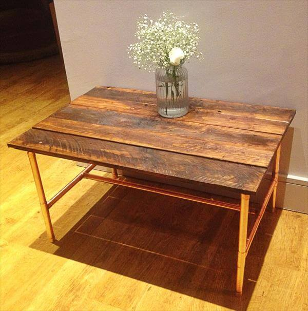 table rustic coffee table with pallet wood diy pallet and copper pipe