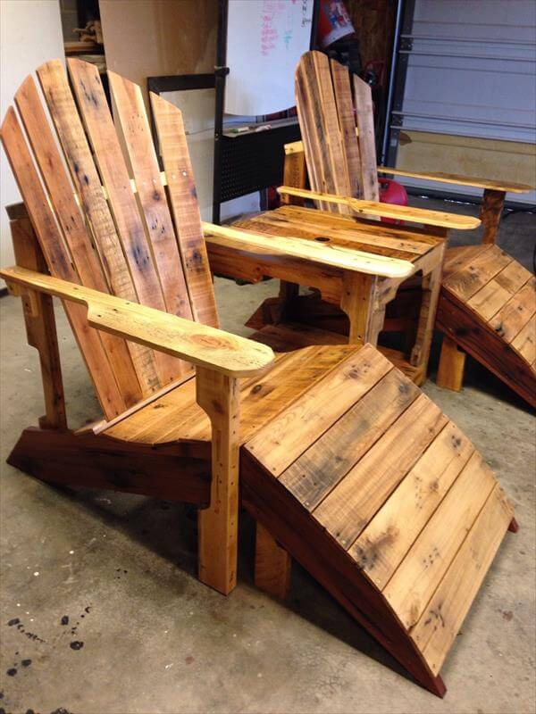 Pallet Adirondack Chair With Footstool 101 Pallets