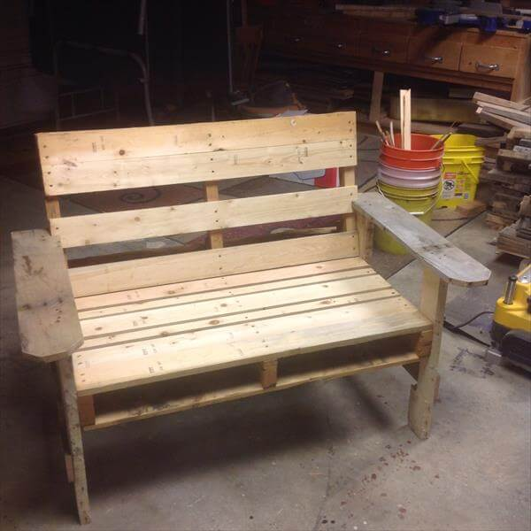 handmade pallet chair with planter