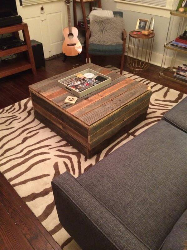 repurposed pallet storage chest and coffee table
