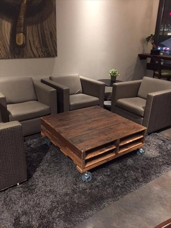 Upcycled Pallet Coffee Table With Rolling Movement