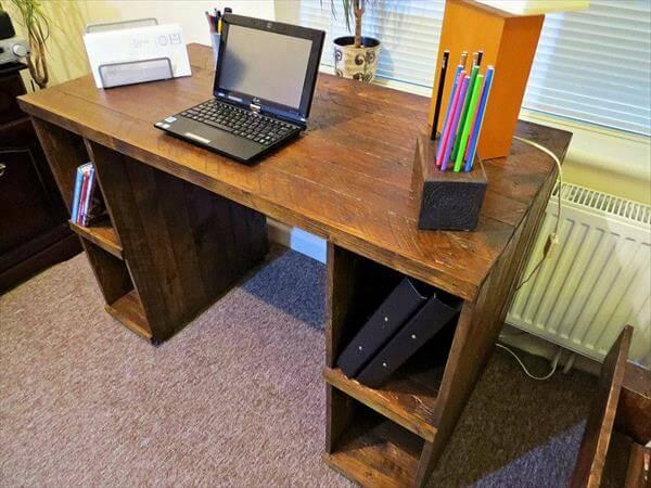 DIY Pallet Computer Desk with Storage | 101 Pallets