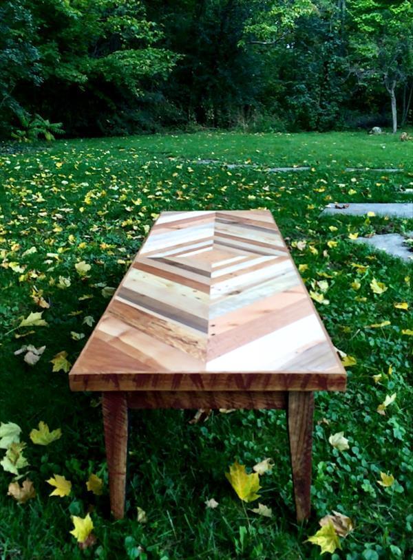repurposed pallet diamond patterned coffee table