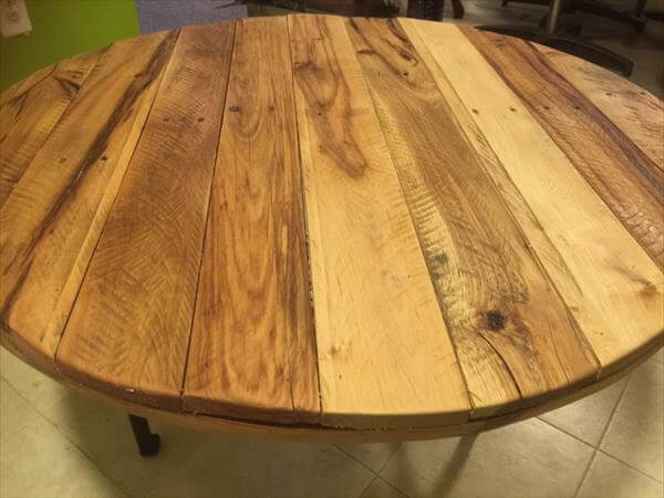 Rustic Yet Modern Round Pallet And Metal Coffee Table