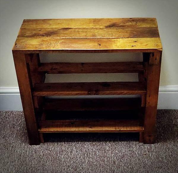 diy wood pallet shoe rack 101 pallets. Black Bedroom Furniture Sets. Home Design Ideas