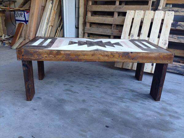 repurposed pallet textured top coffee table