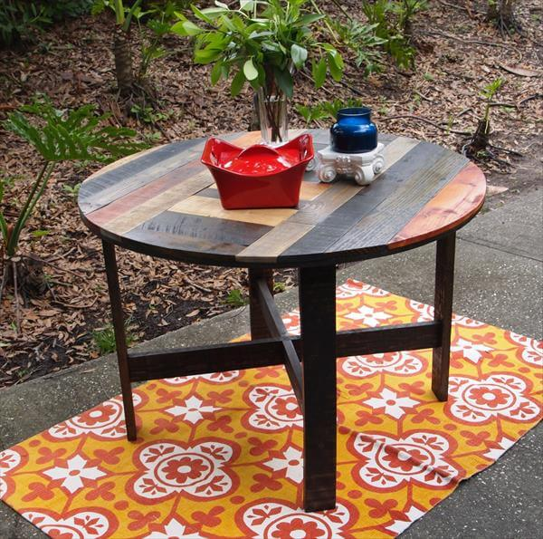 DIY Pallet Round Dining Table Kitchen 101 Pallets