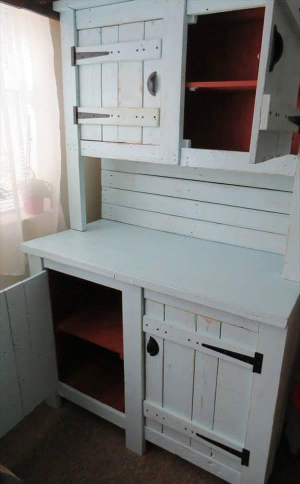 Diy Rustic Pallet Kitchen Dresser | 101 Pallets
