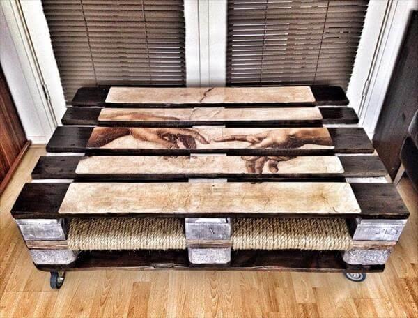 repurposed pallet artful vintage coffee table