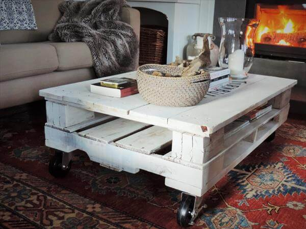 White Pallet Coffee Table pallet coffee table on casters | home design ideas