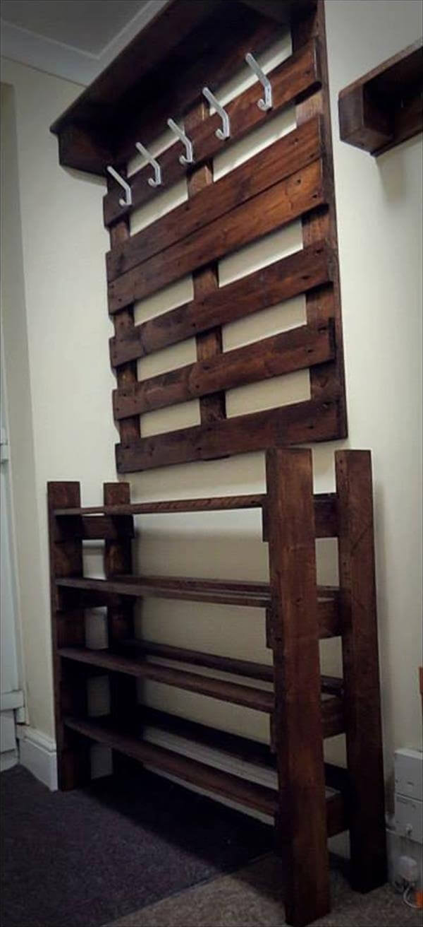 hallway pallet coat rack and shoe rack 101 pallets. Black Bedroom Furniture Sets. Home Design Ideas