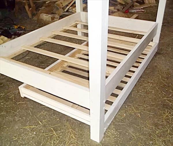 Repurposed bed frame 3 diy wooden pallet bed set for Wood pallet twin bed frame